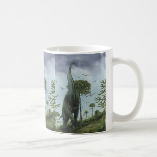 Vintage Dinosaurs, Sauroposeidon with Birds Flying Coffee Mug