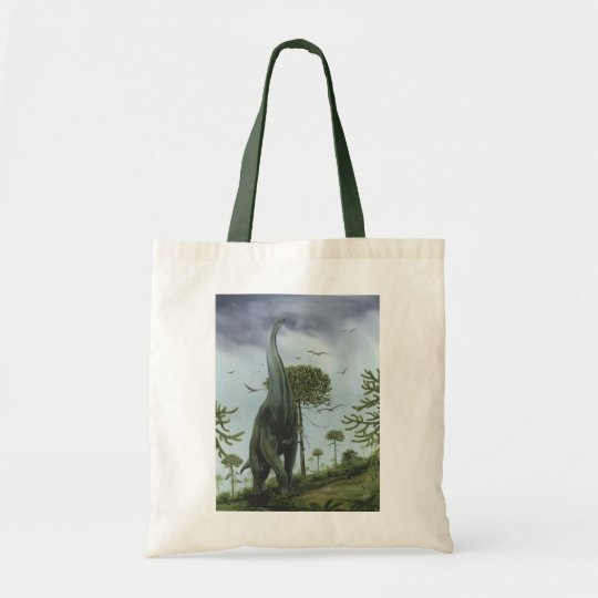 Vintage Dinosaurs, Sauroposeidon with Birds Flying Tote Bag