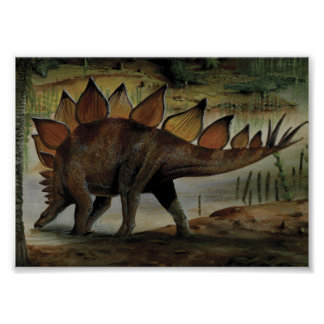 Vintage Dinosaurs, Stegosaurus, Tail with Spikes Poster