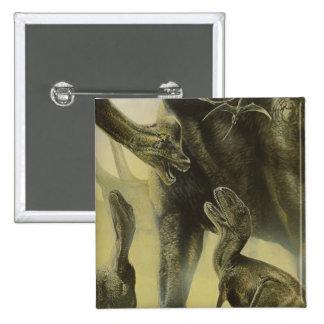 Vintage Dinosaurs, Torvosaurus and Brachiosaurus 2 Inch Square Button