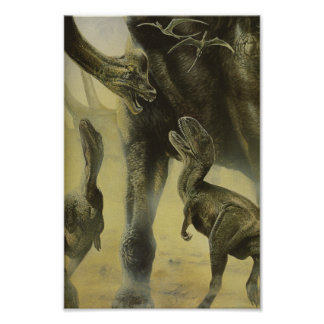 Vintage Dinosaurs, Torvosaurus and Brachiosaurus Poster