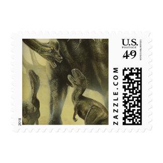 Vintage Dinosaurs, Torvosaurus and Brachiosaurus Stamp