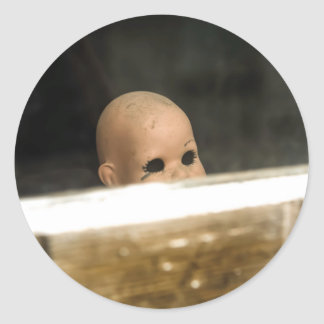 Vintage Dirty Dollhead Peering Out Of Window Classic Round Sticker