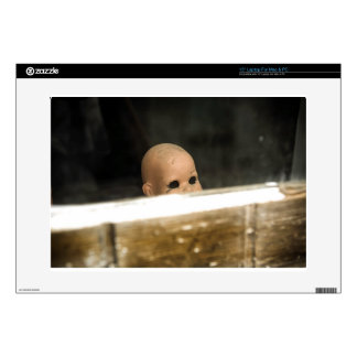 Vintage Dirty Dollhead Peering Out Of Window Decal For Laptop