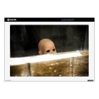 Vintage Dirty Dollhead Peering Out Of Window Laptop Decal