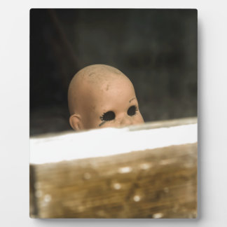Vintage Dirty Dollhead Peering Out Of Window Plaque