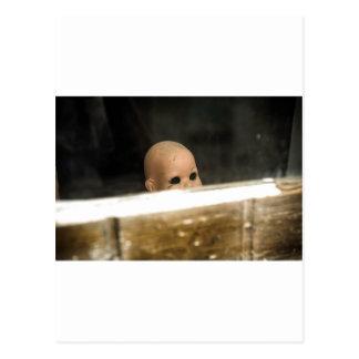 Vintage Dirty Dollhead Peering Out Of Window Postcard