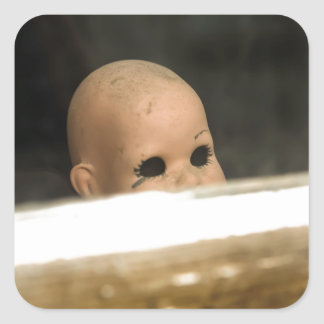 Vintage Dirty Dollhead Peering Out Of Window Square Sticker