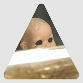 Vintage Dirty Dollhead Peering Out Of Window Triangle Sticker