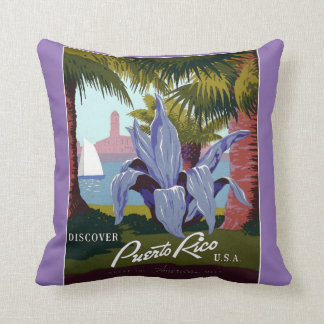 Vintage Discover Puerto Rico Pillow