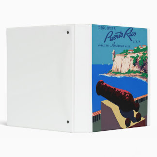 Vintage Discover Puerto Rico U.S.A. WPA Poster 3 Ring Binder