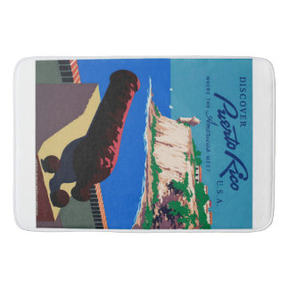 Vintage Discover Puerto Rico U.S.A. WPA Poster Bathroom Mat