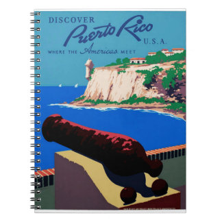 Vintage Discover Puerto Rico U.S.A. WPA Poster Spiral Notebook