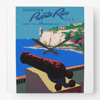 Vintage Discover Puerto Rico U.S.A. WPA Poster Square Wall Clock
