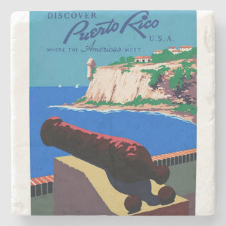 Vintage Discover Puerto Rico U.S.A. WPA Poster Stone Coaster