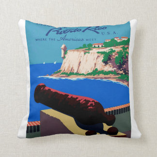 Vintage Discover Puerto Rico U.S.A. WPA Poster Throw Pillow