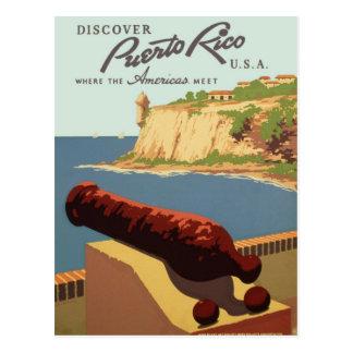 Vintage Discover Puerto Rico WPA Postcard