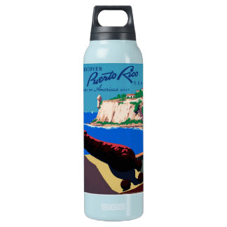 Vintage Discover Puerto Rico WPA Poster Insulated Water Bottle