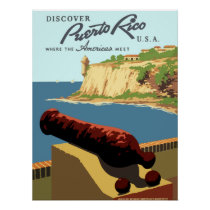 Vintage Discover Puerto Rico WPA Travel Poster