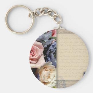 Vintage, diseño floral romántico llavero redondo tipo pin