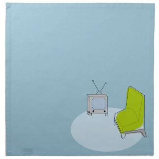 Vintage diseño retro de la TV y de la silla Servilletas