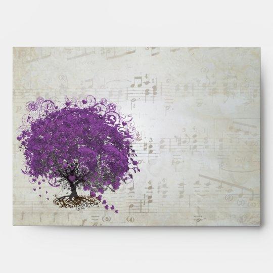 Vintage Distressed Aged Heart Leaf Damask Envelope