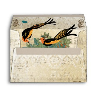 Vintage Distressed Art Deco Birds Wedding Envelope envelope