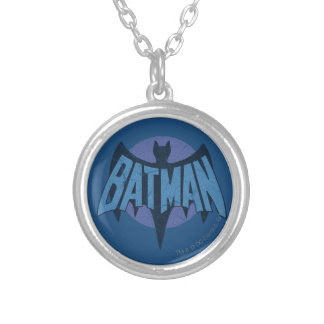 Vintage Distressed Bat Symbol Silver Plated Necklace