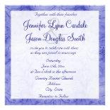Vintage Distressed Blue Swirl Wedding Invitation