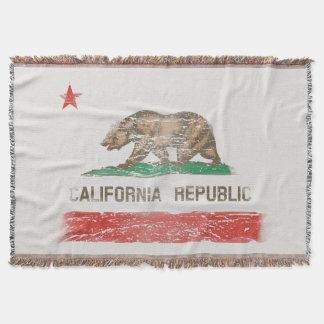 Vintage Distressed California State Flag Throw