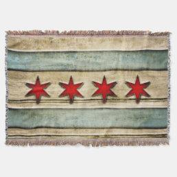 Vintage Distressed Chicago Flag Carved Wood Look Throw Blanket