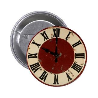 Vintage Distressed Clock Face Pinback Button