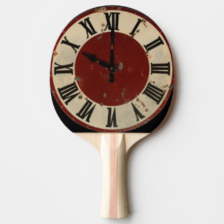 Vintage Distressed Clock Face Steampunk Steam Punk Ping-Pong Paddle
