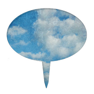 Vintage Distressed Clouds Background Cake Topper