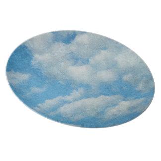Vintage Distressed Clouds Background Dinner Plate