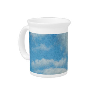 Vintage Distressed Clouds Background Drink Pitcher
