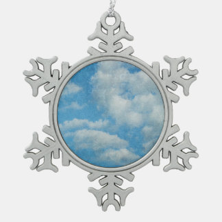 Vintage Distressed Clouds Background Snowflake Pewter Christmas Ornament