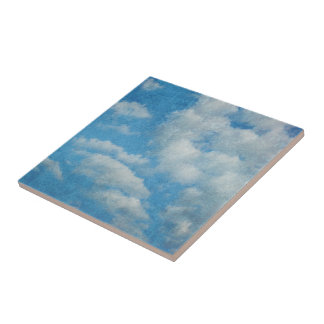 Vintage Distressed Clouds Background Small Square Tile