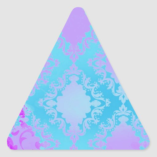 Vintage Distressed Damask Triangle Sticker