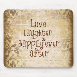 Vintage Distressed Damask with Love Quote Mouse Pad