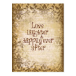 Vintage Distressed Damask with Love Quote Postcard