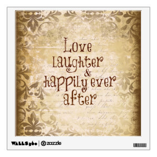 Vintage Distressed Damask with Love Quote Wall Decal