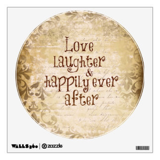 Vintage Distressed Damask with Love Quote Wall Sticker