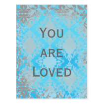 Vintage Distressed Damask You are Loved Postcard