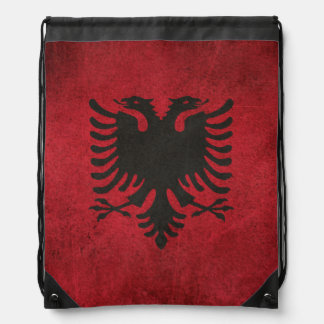 Vintage Distressed Flag of Albania Drawstring Bag