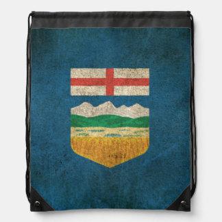 Vintage Distressed Flag of Alberta Drawstring Bag