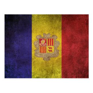 Vintage Distressed Flag of Andorra Postcard