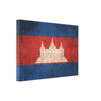 Vintage Distressed Flag of Cambodia Canvas Print