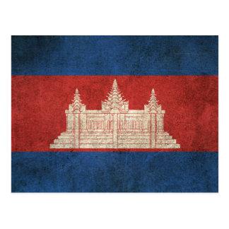 Vintage Distressed Flag of Cambodia Postcard