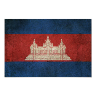 Vintage Distressed Flag of Cambodia Poster